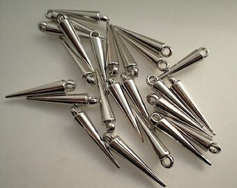 24 silver plated spike beads/drops - SMALL
