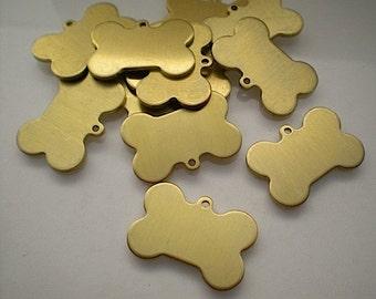 12 flat brass dog bone stamping blanks