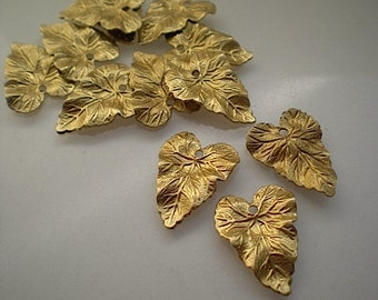 12 small brass rippled leaf charms