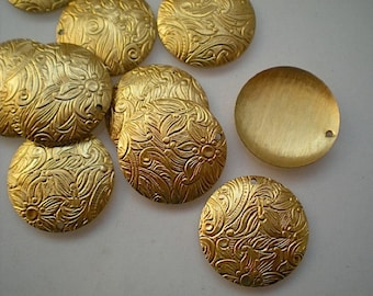 12 round brass discs with floral pattern, 3/4 inch