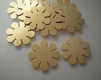 12 flat brass flower stamping blanks