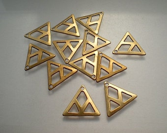 12 small flat brass triangle grid stampings/drops