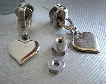 Open your heart - industrial hardware earrings