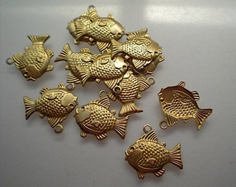 12 small brass fish charms