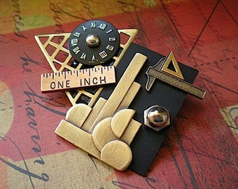 Withstanding the test of time - mixed media brooch pin