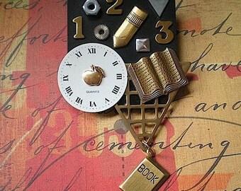 Clockwise - mixed media brooch pin