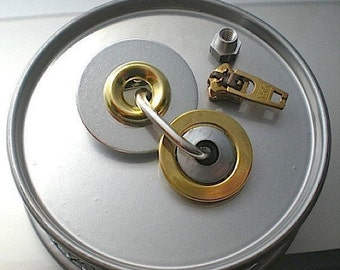 Round we go - industrial hardware brooch pin