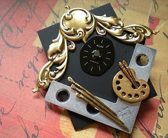 Time frame - mixed media brooch pin