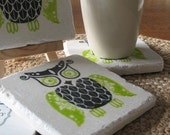 Bold Lime Green and Black Woodland Owl Absorbent Tile Coasters, Set of 4