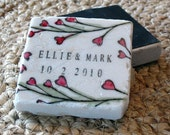 Personalized Save The Date Magnets, Wedding Favors, Heart Vine Design, Set of 25