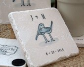 Love Bird Wedding Coasters - Personalized Tile Favors - Romantic Wedding Decoration - Set of 25