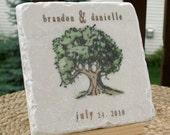 Personalized Oak Tree Favor Coasters - Outdoor Wedding - Set of 25
