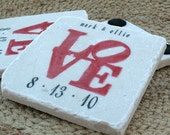 Personalized Red Love Statue Wedding Favor Coasters - Set of 120