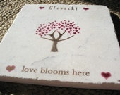 Love Blooms Here Tile Trivet, Personalization Available