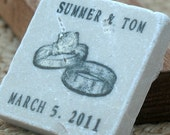 Shimmery Silver Wedding Ring Favors or Save the Date Magnets, Set of 25