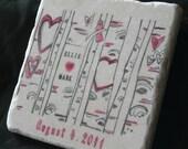 Wedding Favor Coasters, I Heart You Tree, Set of 25
