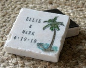 Tropical Palm Tree Save The Date Magnets - Personalized Beach Wedding Party Favors - Set of 25