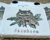 Personalized Owl Coasters - Woodland Home Decor - Housewarming Gift - Set of 4
