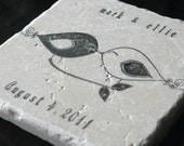 Black and White Love Bird Wedding Favor Coasters, Set of 25