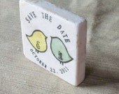 Personalized Save the Date Magnets, Wedding Favors, Pudgy Love Birds, Set of 25