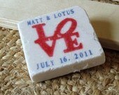 Love Red, White and Blue Wedding Favors, Save the Date Magnets, Set of 25