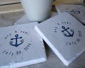 Nautical Anchor Wedding Favor Coasters, Set of 60