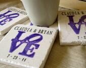 Purple Love Statue Wedding Favor Coasters, Set of 110