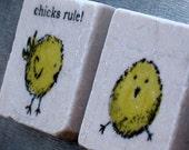 Hip Chicks Rule Tile Magnets - Cool Chick Gift - Easter - Set of 3