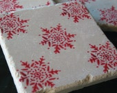 Holiday Home Decor - Winter Red Snowflake Tile Coasters - Set of 4