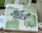 Dove Hope Tile Coasters - Peace - Holiday Gift - Set of 4