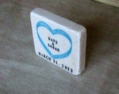 Music Heart Save the Date Magnets, Wedding Favors, Cerulean Blue, Set of 25