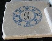 Monogram Fleur de Lis Coasters - Hostess Gift - Blue Home Decor - Set of 4