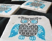 Bold Owl Coasters - Owl Home Decor - Azure Blue and Black - Set of 4 - Ready to Ship