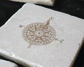 Fleur De Lis Compass Tile Coasters - Masculine Home Decor - Set of 4