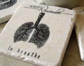 Always Remember to Breathe Coasters - Yoga Inspiration - Stone Coasters - Set of 4