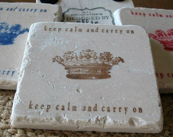 Keep Calm and Carry On Tile Coasters - Brown - Set of 4