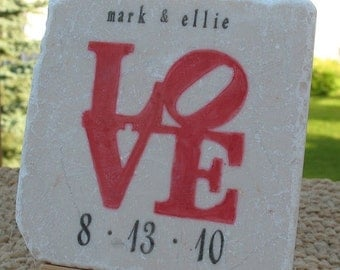 Red Love Statue Wedding Favor Coasters, Set of 25