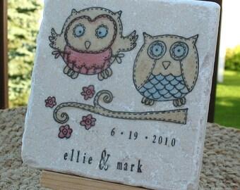 Owl Wedding Favor Coasters, Set of 40