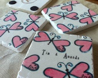 Personalized Butterfly Wedding Favor Coasters - Party Favor - Wedding Keepsake - Set of 25