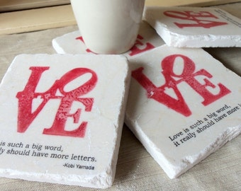 Love Wedding Favor Coasters - Love Statue Wedding Keepsake - Set of 50