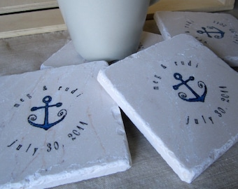 Nautical Wedding Favors - Personalized Anchor Coasters -  Set of 30