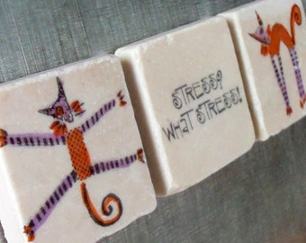 What Stress Kitty Tile Magnets, Set of 3, Ready to Ship