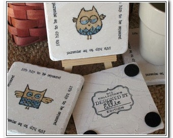 Owl Coasters - It's Hip to Be Square - Woodland Home Decor - Set of 4