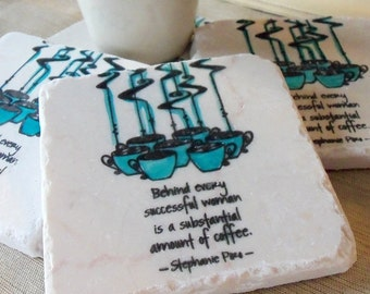 Coffee Lover Drink Coasters - Coworker Gift for Her - Set of 4 Absorbent Coasters