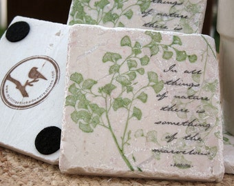 Tile Coasters - Ginkgo Leaf Design - Mother's Day Gift for the Gardener - Nature Home Decor