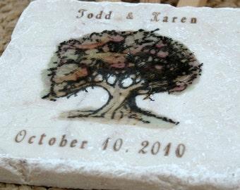 Coaster Tiles - Fall Oak Tree Personalized Coasters - Fall Home Decor -