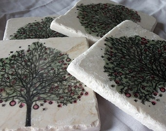 Christmas Coasters - Holiday Tree Design - Holiday Party Hostess Gift - Christmas Gift