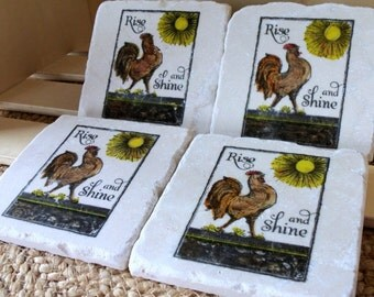 Rooster Tile Coasters, Rise and Shine,  Set of 4