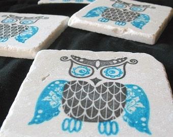 Bold Owl Coasters - Owl Home Decor - Azure Blue and Black - Tile Drink Coasters