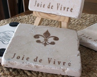 Absorbent Tile Coasters - Joie de Vivre Fleur de Lis Design - Hostess Gift - French Home Decor